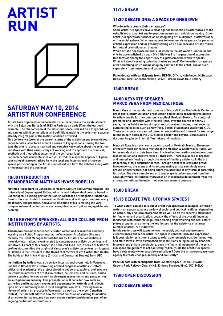 ARTIST RUN conference